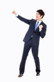 Showing fist young Asian business man. Royalty Free Stock Images