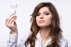 Showing fluorescent bulb. Royalty Free Stock Image