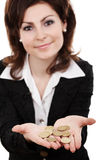 Showing golden coins Stock Image