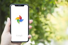 Turkey, Istanbul - September 15.2018: Hands on experience on Google Reviewing Google application. Showing Google on mobilephone. D. Showing Google on mobilephone stock image