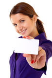 Showing her business card Stock Image