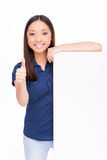 Showing her thumb up. Stock Images