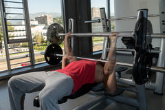 Showing How To Bench Press Stock Photo