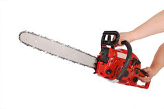 Showing how to work with chainsaw Royalty Free Stock Photo