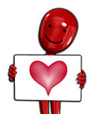 Showing That I Love You. Cartoon figure with a sign with a love heart on it Stock Photography