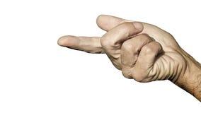 Showing with index finger. Index finger showing metaphor. Index finger or forefinger is most ĆtalkativeĆ finger stock image