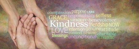Showing Kindness Word Tag Cloud Banner. Female hands gently cradling male cupped hands beside a KINDNESS word cloud against a wide rustic artistic multicoloured stock photography
