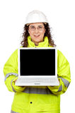 Showing a laptop Stock Image