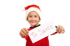 Showing letter to Santa Stock Photos