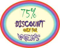 Collorfull model 75% discount only for mens  super sharpe discount  model button icon images. Showing  mad finished round shape colorful model 75% discount only Royalty Free Illustration