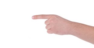 Showing man's finger. Stock Images