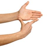 Showing measures, hand sign Stock Photos