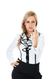 Showing middle finger. Angry businesswoman  showing middle finger on white background Stock Photography