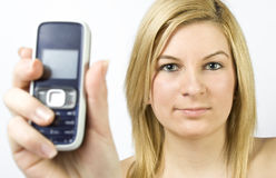 Showing mobile phone Stock Photography
