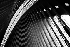 Interior view of the vast roofline structure of the shopping mall at Ground Zero, New York City. stock photo