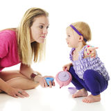 Showing Mommy Where It Is Royalty Free Stock Image
