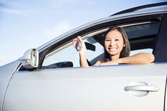 Showing new car keys. Woman holding car keys driving her new car stock images