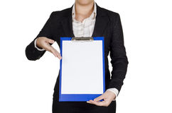 Showing a note Stock Photo