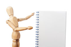 Showing a notebook. Dummy showing an empty notebook for filling it Stock Photos