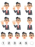 Showing numbers with fingers, the upper body of a businessman vector illustration