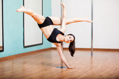 Showing off my pole dancing routine Royalty Free Stock Image
