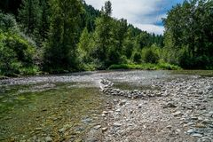 Showing Off it`s Beautiful Waters. The Clark Fork River in Montana showing off it`s beautiful waters Stock Images