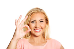 Showing ok or perfect sign. Royalty Free Stock Images