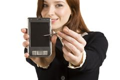 Showing PDA. Young business girl showing PDA Royalty Free Stock Photos