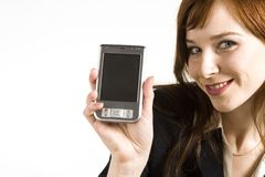 Showing PDA. Young business girl showing PDA Stock Image