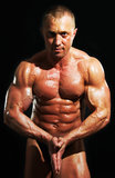 Showing pectoral muscles Stock Photo