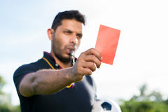 Showing penalty card Stock Photos