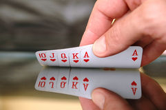 Showing playing cards Royalty Free Stock Photo