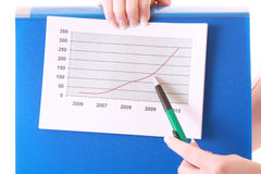 Showing positive chart Stock Photos