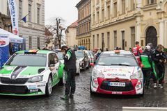 Showing race cars on the square on the Large Square in Sibiu city in Romania. Sibiu, Romania, October 07, 2017 : Showing race cars on the square on the Large Stock Photo