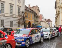Showing race cars on the square on the Large Square in Sibiu city in Romania. Sibiu, Romania, October 07, 2017 : Showing race cars on the square on the Large Royalty Free Stock Photos