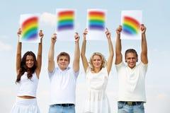 Showing rainbow Stock Image