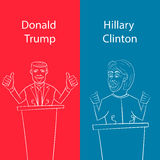 Showing Republican Donald Trump vs Democrat Hillary Clinton face-off for American president with words Election 2016. On  background done in stencil cartoon Royalty Free Stock Photography