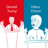 Showing Republican Donald Trump vs Democrat Hillary Clinton face-off for American president with words Election 2016. On  background done in stencil cartoon Royalty Free Stock Photos