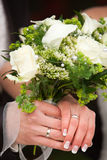 Showing rings and bouquet Royalty Free Stock Photography