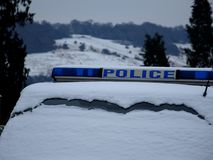 A Police Car Roof Top Sign and Windscreen Section. royalty free stock photos