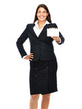 Showing sign. Business woman holding business card.  Isolated on a white background Royalty Free Stock Photos