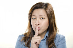 Showing silent sign Stock Photography
