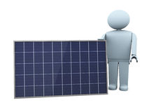 Showing a solar panel. One stylized man with a solar panel (3d render Stock Photo