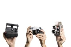 Group of old photo and video camera. Showing some old tools to create photos and videos royalty free stock photos