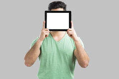 Showing something on tablet Royalty Free Stock Photo