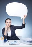 Showing speech bubble Royalty Free Stock Photos