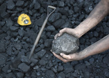 Showing stone coal Royalty Free Stock Image