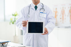 Showing tablet Royalty Free Stock Images
