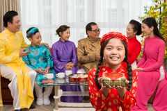 Showing Tet gift Royalty Free Stock Photography