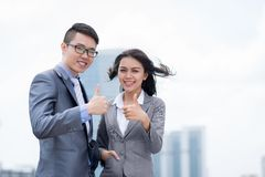 Showing thumbs up Royalty Free Stock Photos